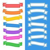conjunto de fitas coloridas planas isoladas e banners em fundo branco e azul. ilustração vetorial plana simples. com lugar para texto. adequado para infográficos, design, publicidade, festivais, rótulos. vetor