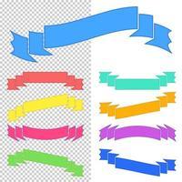 conjunto de fitas coloridas planas isoladas e banners em um fundo transparente. ilustração vetorial plana simples. com lugar para texto. adequado para infográficos, design, publicidade, festivais, rótulos. vetor