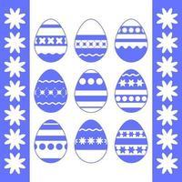 conjunto de ovos de Páscoa azuis isolados em um fundo branco. com um padrão abstrato. ilustração vetorial plana simples. adequado para decoração de cartões postais, publicidade, revistas, sites. vetor