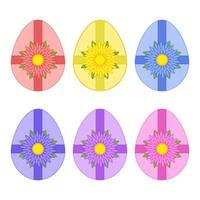 um conjunto de ovos de Páscoa isolados coloridos amarrados com fitas e uma flor em um fundo branco. ilustração vetorial plana simples. adequado para decoração de cartões postais, publicidade, revistas, sites. vetor