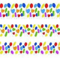 borda sem emenda de balões isolados coloridos planas em formas diferentes. ilustração vetorial plana simples. adequado para cartões de felicitações e revistas vetor