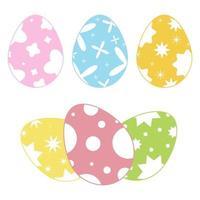 conjunto de ovos de Páscoa isolados coloridos em um fundo branco. com um padrão abstrato. ilustração vetorial plana simples. adequado para decoração de cartões postais, publicidade, revistas, sites. vetor
