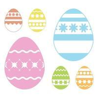 conjunto de ovos de Páscoa coloridos isolados em um fundo branco. com padrão abstrato. ilustração vetorial plana simples. adequado para decoração de cartões postais, publicidade, revistas, sites. vetor