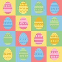 conjunto de ovos de Páscoa isolados coloridos. com um padrão abstrato. ilustração vetorial plana simples. adequado para decoração de cartões postais, publicidade, revistas, sites. vetor