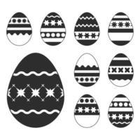 conjunto de ovos de Páscoa brancos isolado em um fundo preto. com um padrão muito abstrato. ilustração vetorial plana simples. vetor