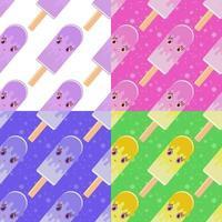 conjunto de padrões sem emenda em picolés de desenho liso em palitos de madeira. quatro opções de cores. fundo branco, rosa, verde, azul. vetor