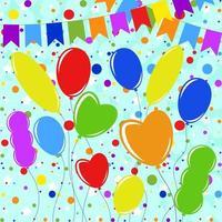 conjunto de balões coloridos lisos isolados nas cordas. design simples em um fundo azul com guirlandas e confetes vetor