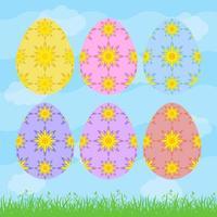 conjunto de ovos de Páscoa isolados coloridos em um fundo azul. com padrão floral abstrato. ilustração vetorial plana simples. adequado para decoração de cartões postais, publicidade, revistas, sites. vetor