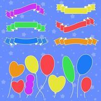 conjunto de silhuetas coloridas planas isoladas faixas de fitas e balões sobre um fundo azul. ilustração vetorial plana simples. com lugar para texto. adequado para infográficos, design, publicidade, festivais, rótulos. vetor