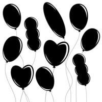 um conjunto de silhuetas isoladas pretas planas de balões de diferentes formas em branco. ilustração vetorial plana simples. adequado para design, publicidade, feriados, cartões. vetor