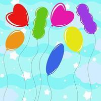 conjunto de balões isolados coloridos lisos de diferentes formas em um fundo azul. ilustração vetorial plana simples. adequado para design, publicidade, feriados, cartões. vetor