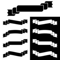 conjunto de silhuetas isoladas planas brancas e pretas de faixas de fitas em fundo branco vetor