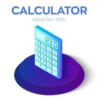 ícone da calculadora. Ícone de calculadora isométrica 3D. criado para celular, web, decoração, produtos de impressão, aplicativos. perfeito para web design, banner e apresentação. vetor