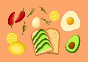 Ingredientes do brinde de abacate vetor
