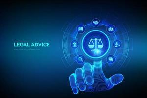 direito do trabalho, advogado, procurador, conceito de consultoria jurídica na tela virtual. lei da Internet e lei cibernética como serviços jurídicos digitais ou consultoria jurídica online mão tocando interface digital. vetor