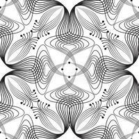 abstrato floral padrão sem emenda com linha preta oriental ornamento redemoinho geométrica doodle textura de tecido asiático. fundo retro muçulmano do efeito óptico da onda ornamental. vetor