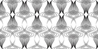 abstrato estilo retro arabesco padrão linear sem emenda. ornamento de arte de linha artística com formas florais. vetor