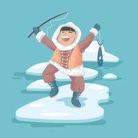 Pesca Eskimo Feliz para Peixes vetor