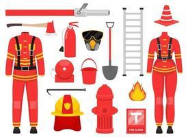 ilustração de desenho vetorial coleção de bombeiro isolada no fundo branco vetor