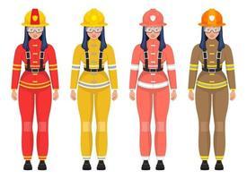 ilustração em vetor bombeiro mulher isolada no fundo branco