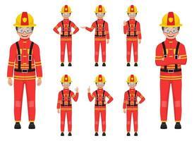ilustração de desenho vetorial menino bombeiro isolada no fundo branco vetor
