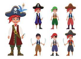ilustração de desenho vetorial menino pirata isolada no fundo branco vetor