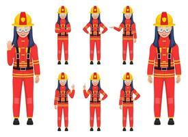 ilustração em vetor bombeiro menina isolada no fundo branco