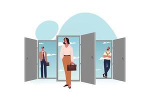 equipe de jovens empresários empresários mulher escriturários gerentes funcionários parados perto de portas para novas oportunidades vetor