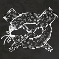 salsicha grelha desenhada à mão estilo retro desenho ilustração vintage vector