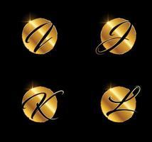 sinal inicial do monograma ijkl com letra dourada vetor