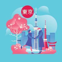 Casal romântico com horizonte de Tóquio e fundo de flor de cerejeira vetor