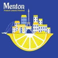 Festival de limão ou Fete du Citron em Menton na Riviera Francesa vetor