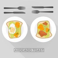 Ilustração em vetor plana saudável café da manhã menu
