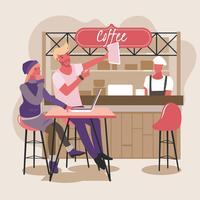 Casal jovem em uma loja de café usando laptop Aproveite as mídias sociais vetor