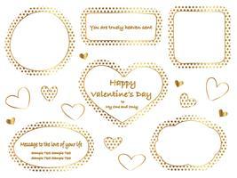 Conjunto de quadros de bolinhas de ouro com espaço de texto. vetor