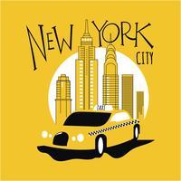 Táxi amarelo na rua da cidade de Nova York vetor