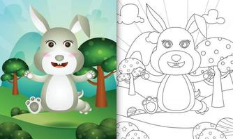 livro de colorir para crianças com uma ilustração de um coelho fofo vetor
