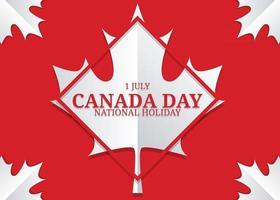 1º de julho. fundo do dia do Canadá com desenho de folha de bordo vetor