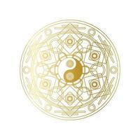 mandala dourada brilhante com sinal de yin yang isolado vetor