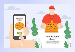 Vetor de Banner de ordem de comida on-line