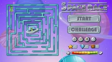 modelo de jogo de labirinto com tema espacial vetor