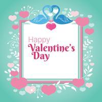 Casal de cisne, coração e florescer na moldura quadrada para dia dos namorados vetor