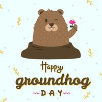 Feliz dia da marmota vector