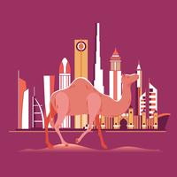 Camelo na praia de Dubai com horizonte de fundo vetor