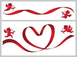 Conjunto de dois modelos de cartão de dia dos namorados com fitas vermelhas e cupidos. vetor
