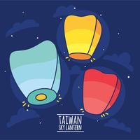 Vetor de lanterna de céu colorido de Taiwan