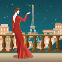 Linda a senhora na varanda em Paris ver Eiffel vetor