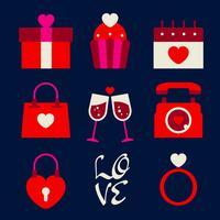 Conjunto de elementos retrô feliz dia dos namorados ícone vetor