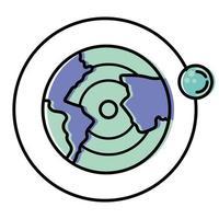 mundo com lua no design de vetor de órbita espacial