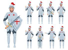 ilustração de desenho vetorial homem cavaleiro isolada no fundo branco vetor